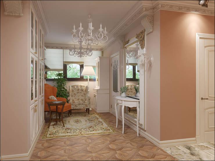 Дизайн квартиры 75 кв.м. в классическом стиле.: Гостиная в . Автор – Студия Архитектуры и Дизайна Алисы Бароновой