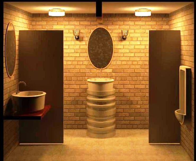 Reforma de banheiro de restaurante: Espaços gastronômicos  por Henrique Thomaz Arquitetura e Interiores