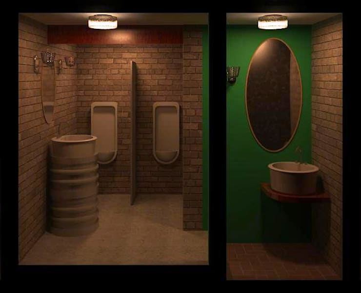Banheiro Masculino de Restaurante: Espaços gastronômicos  por Henrique Thomaz Arquitetura e Interiores