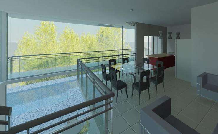 Mezanino/jantar: Salas de jantar  por Henrique Thomaz Arquitetura e Interiores