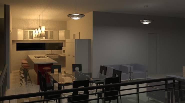 Cozinha/jantar: Cozinhas  por Henrique Thomaz Arquitetura e Interiores