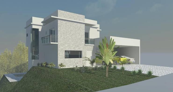 Fachada frontal: Casas  por Henrique Thomaz Arquitetura e Interiores