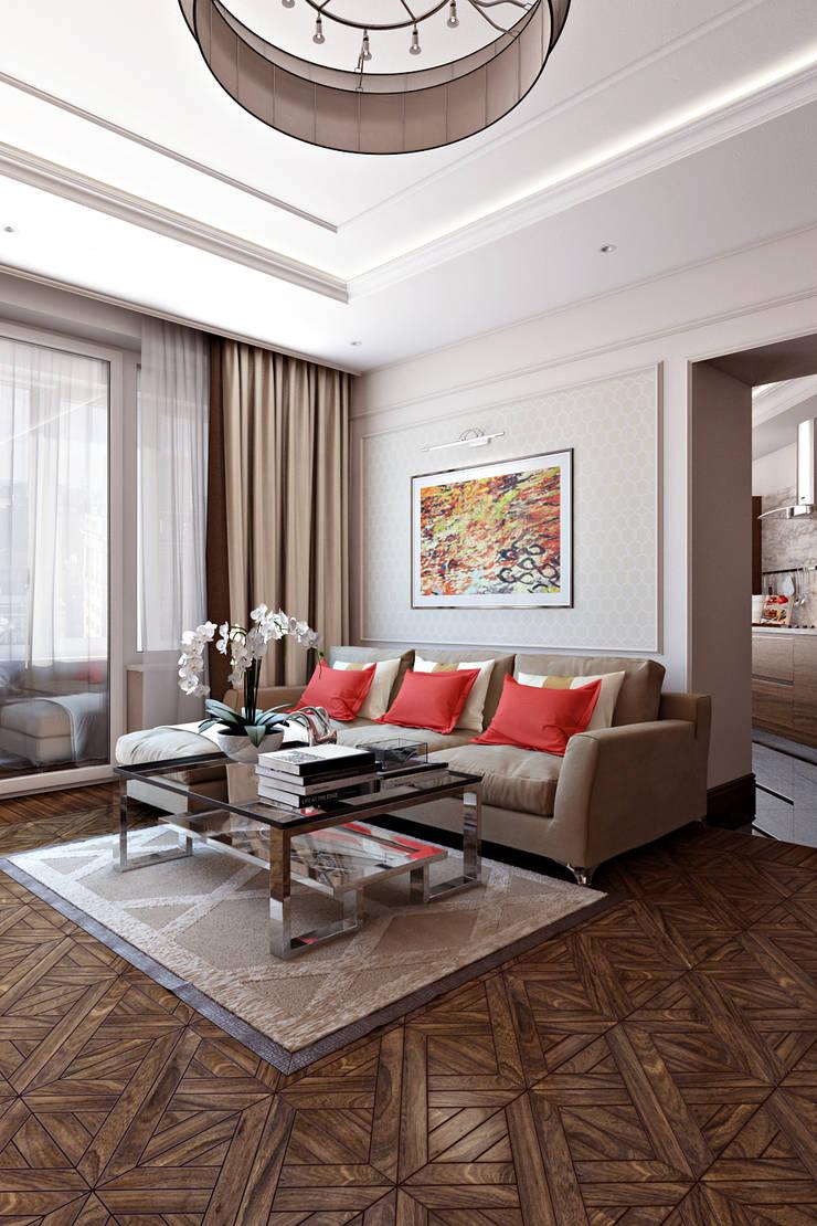 Гостиная  стиле Неоклассика: Гостиная в . Автор – СВЕТЛАНА АГАПОВА ДИЗАЙН ИНТЕРЬЕРА,