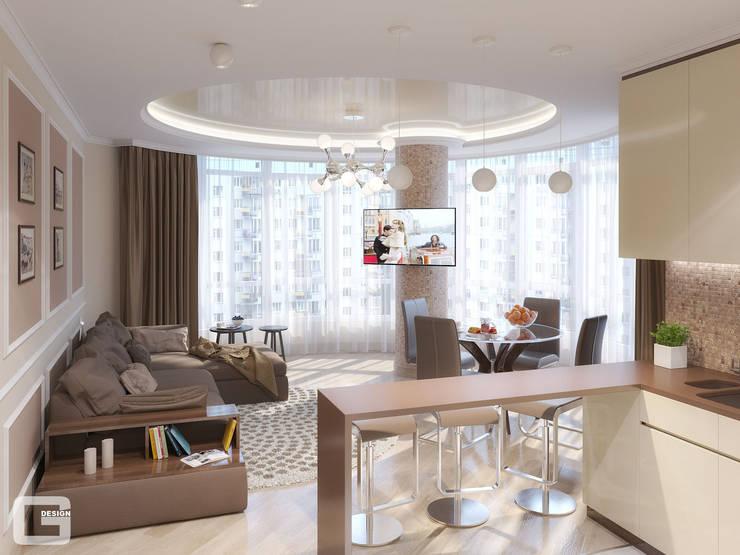 Панорамная мечта. Кухня - гостиная: Гостиная в . Автор – Giovani Design Studio, Эклектичный