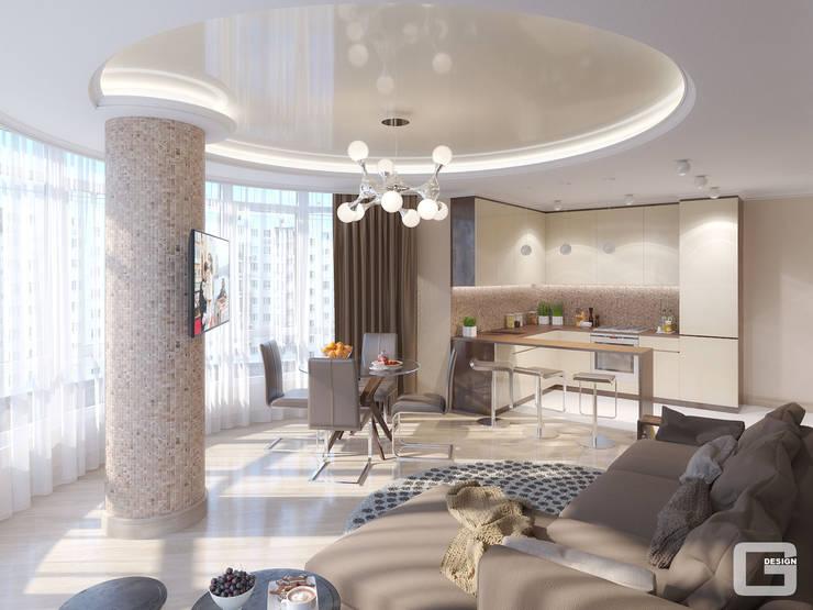 Панорамная мечта. Кухня - гостиная: Кухни в . Автор – Giovani Design Studio, Эклектичный