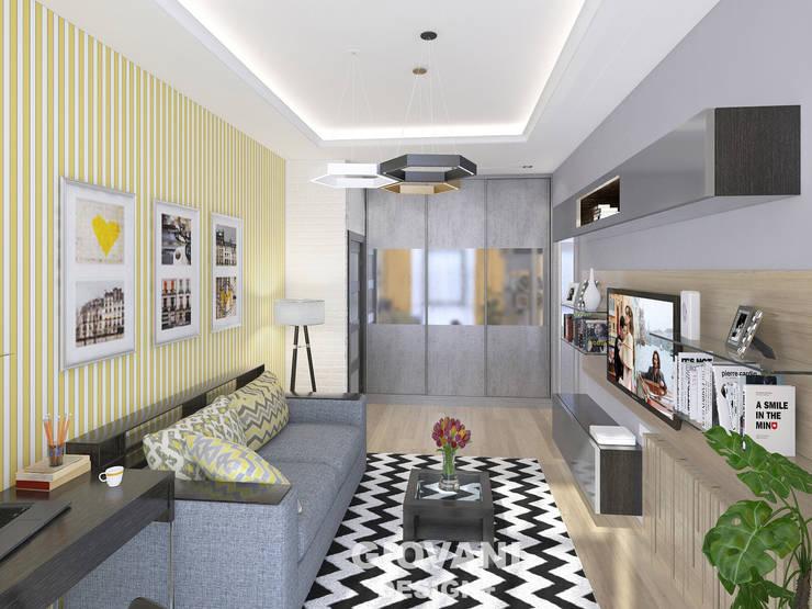 Солнечная квартира для молодой семьи: Гостиная в . Автор – Giovani Design Studio