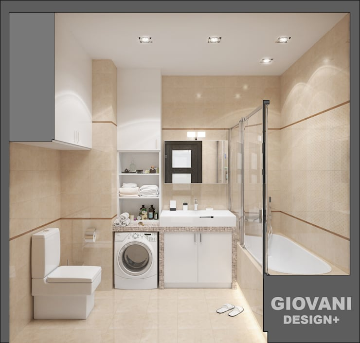 Солнечная квартира для молодой семьи: Ванные комнаты в . Автор – Giovani Design Studio