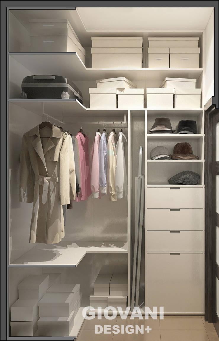 Солнечная квартира для молодой семьи: Гардеробные в . Автор – Giovani Design Studio