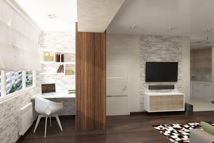 Квартира для молодой семьи: Гостиная в . Автор – Ирина Альсмит