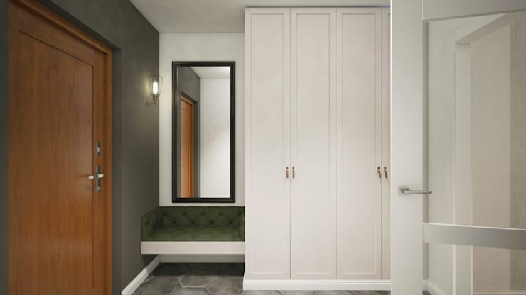 Couloir, entrée, escaliers originaux par Finchstudio Éclectique