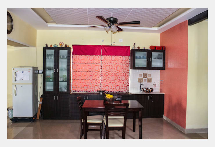 Villa at Appa Junction, Hyderabad.: mediterranean Dining room by Happy Homes Designers