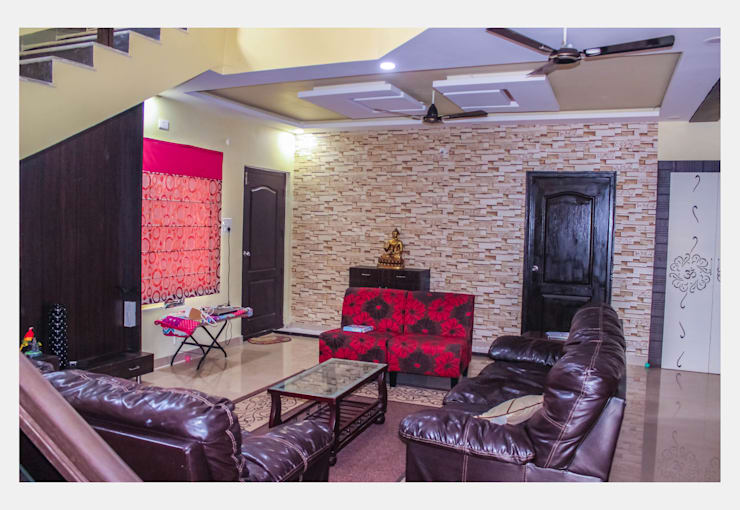 Villa at Appa Junction, Hyderabad.:  Living room by Happy Homes Designers