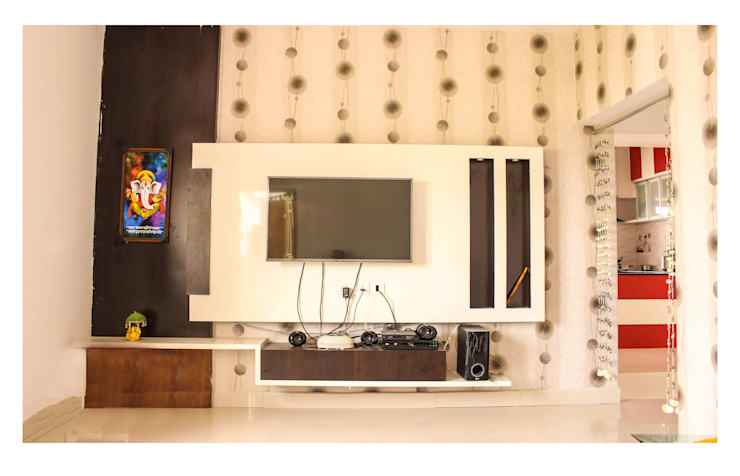 2 Bedroom Flat at Manikonda:  Multimedia room by Happy Homes Designers