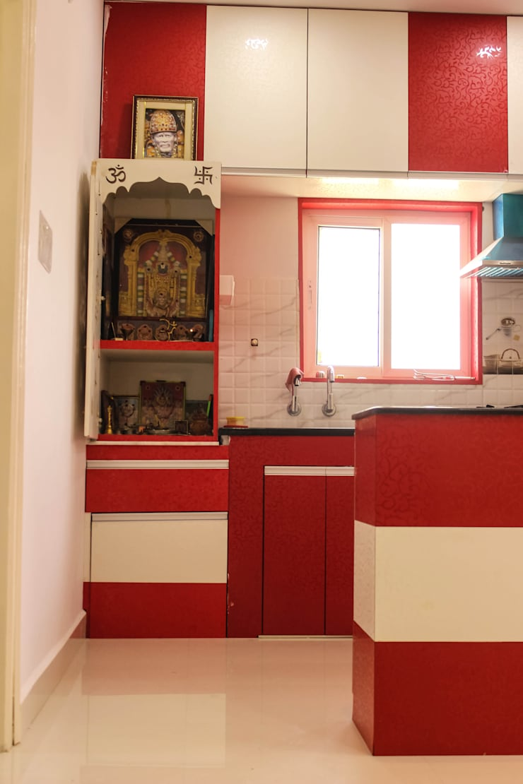 2 Bedroom Flat at Manikonda:  Kitchen by Happy Homes Designers