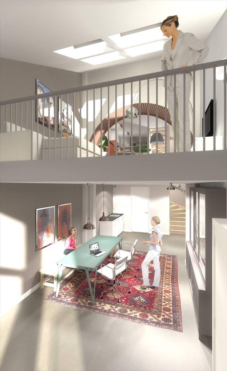 wonen in de ijzergieterij:  Studeerkamer/kantoor door architectenburo frans van roy