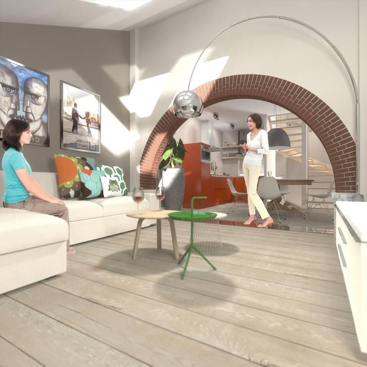 wonen in de ijzergieterij:  Woonkamer door architectenburo frans van roy