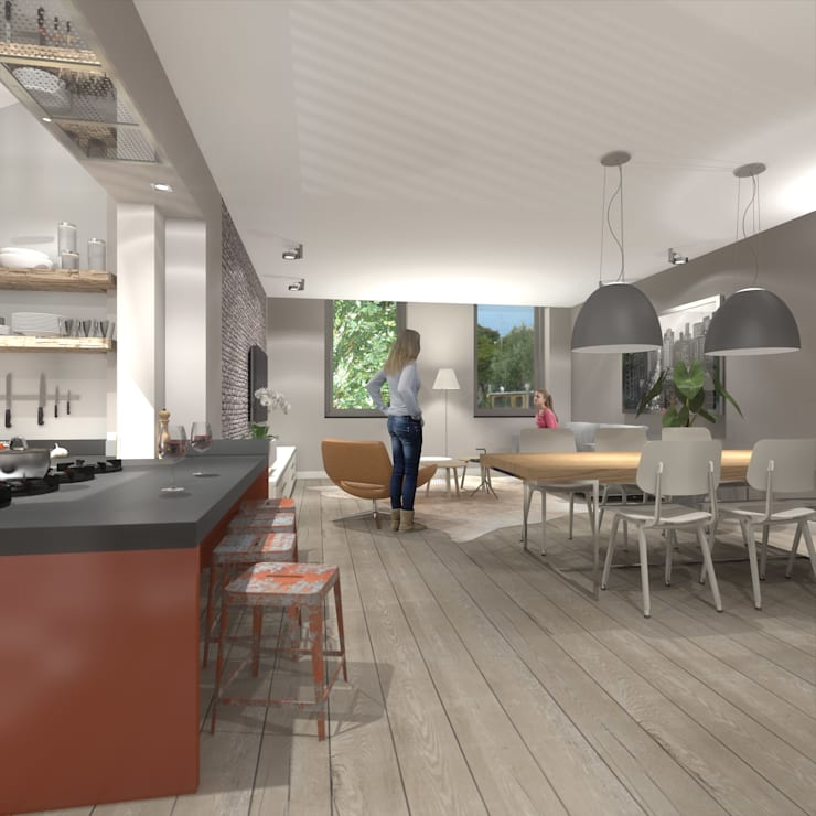 wonen in de ijzergieterij:  Eetkamer door architectenburo frans van roy