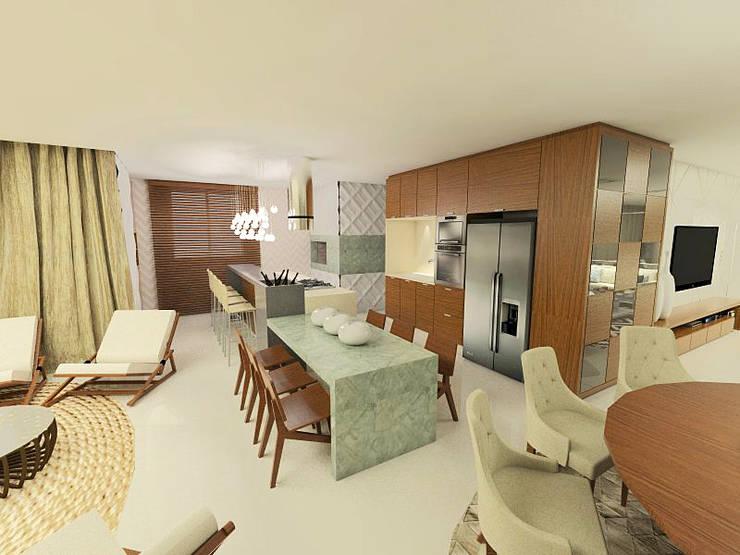 Apartamento Beira Mar Balneário Camboriú: Cozinhas  por Cas Arquitetos Associados,