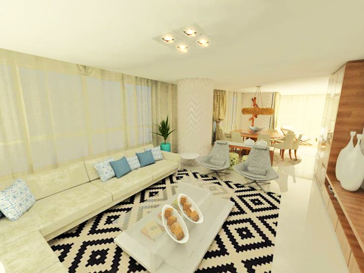 Apartamento Beira Mar Balneário Camboriú: Salas de estar  por Cas Arquitetos Associados,