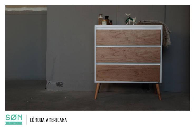 Comoda Americana: Dormitorios de estilo escandinavo por SØN Muebles