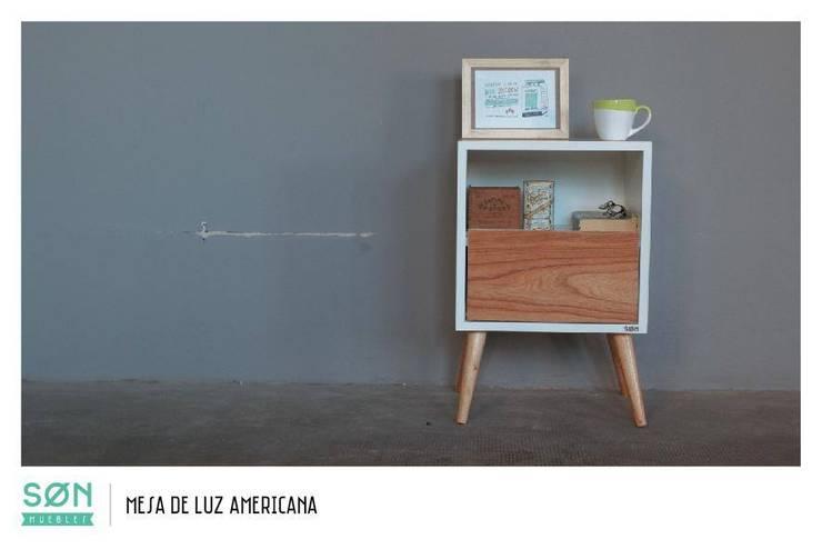 Mesa de Luz Americana: Dormitorios de estilo escandinavo por SØN Muebles