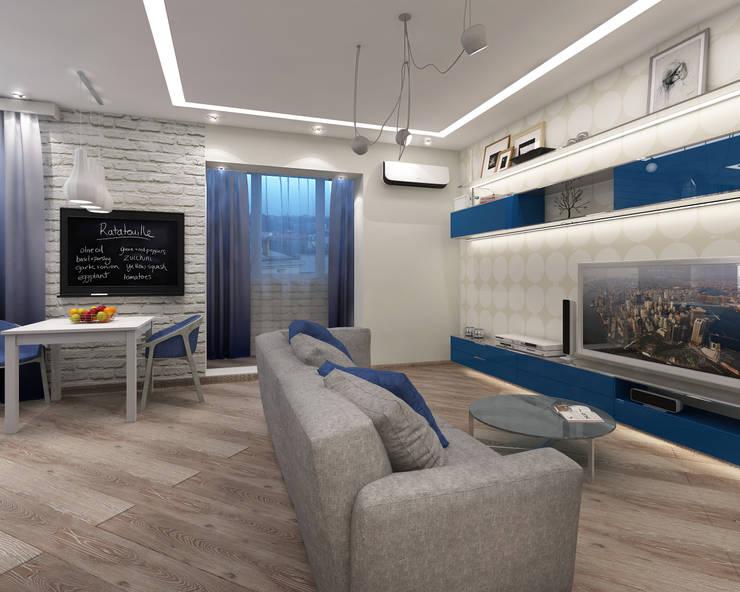 гостиная с васильковыми акцентами: Гостиная в . Автор – Лето Дизайн