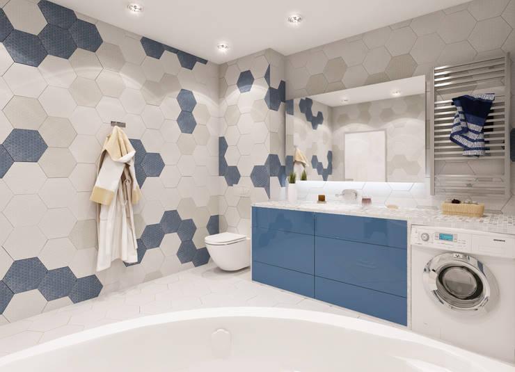 ЖК Мишино, квартира для молодой девушки: Ванные комнаты в . Автор – Лето Дизайн
