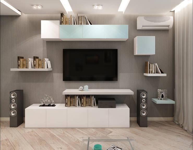 TV зона и немного хаоса: Гостиная в . Автор – Лето Дизайн