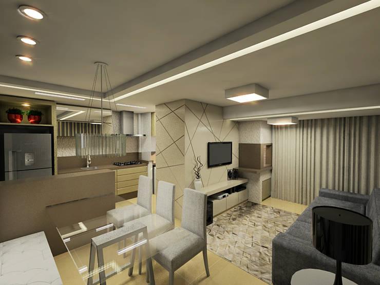 Apartamento Itoupava Norte Blumenau: Salas de estar  por Cas Arquitetos Associados