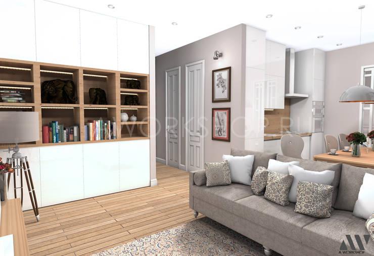Квартира на Волжском проспекте: Гостиная в . Автор – A.workshop