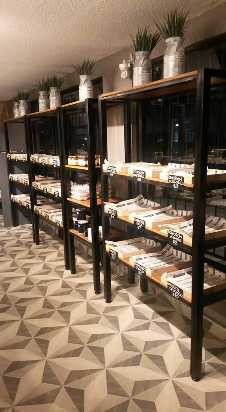 Panaderías La Artesa, sucursal Del Valle: Espacios comerciales de estilo  por Purista Interiorismo