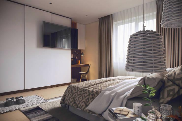 Наб.Реки Смоленки: Спальни в . Автор – Дарья Баранович Дизайн Интерьера