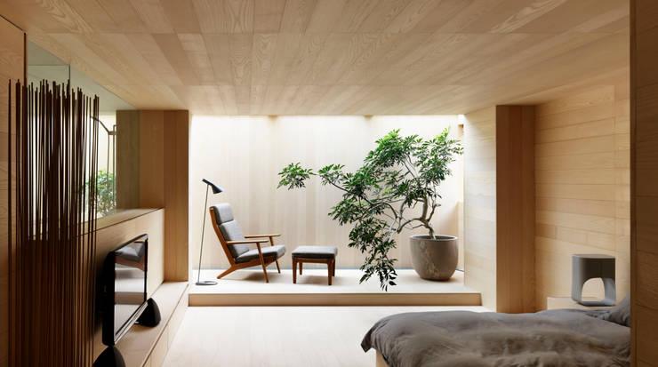 O邸: 中塚健仁建築設計事務所が手掛けたリビングです。