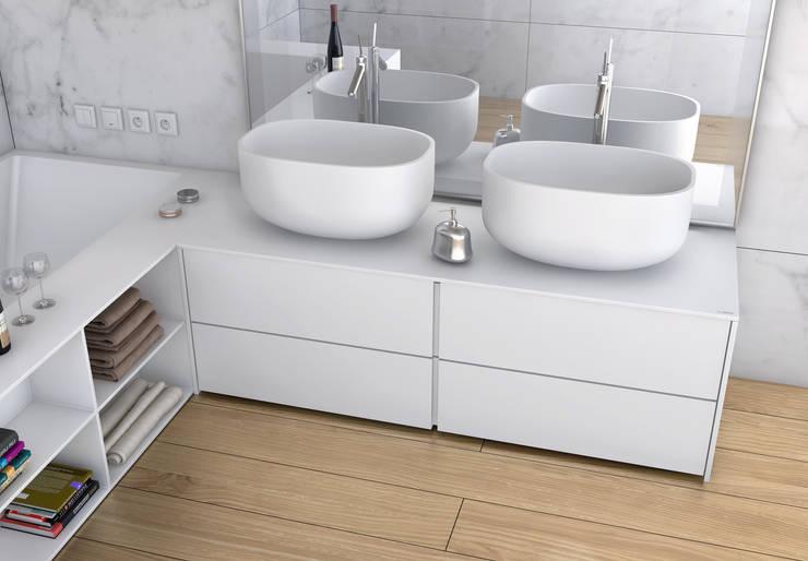 Łazienka w nowoczesnym wydaniu: styl , w kategorii Łazienka zaprojektowany przez Luxum