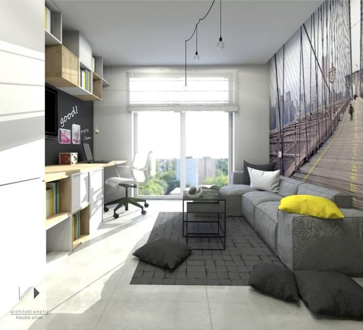 Pokój nastolatka , mini salon: styl , w kategorii Pokój dziecięcy zaprojektowany przez Architekt wnętrz Klaudia Pniak,Nowoczesny