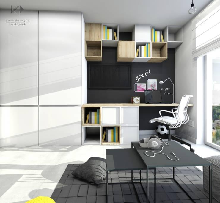 Miejsce pracy : styl , w kategorii Pokój dziecięcy zaprojektowany przez Architekt wnętrz Klaudia Pniak,Nowoczesny