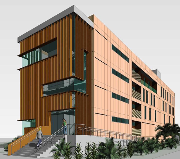 Fachada lateral direita: Edifícios comerciais  por GR PROJETOS