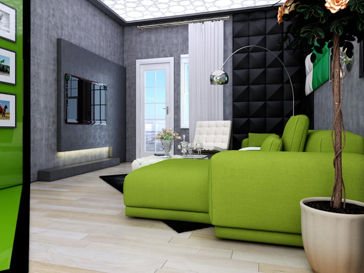 Abb Design Studio – Concept (Living Room) - RU: modern tarz Oturma Odası