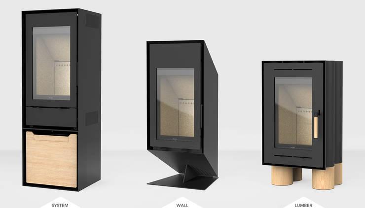 TEK Wood Stove Collection : Sala de estar  por INNGAGE