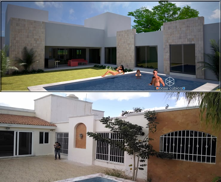 ANTES Y DESPUES, PATIO:  de estilo  por Base cubica Arquitectos