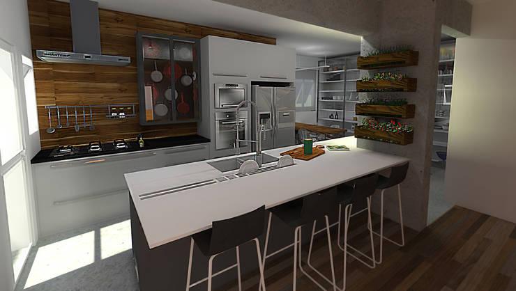 Residência Granja Viana – SP: Cozinhas  por PdP Arquitetura