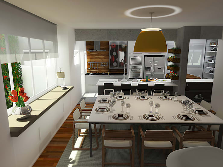 Residência Granja Viana – SP: Salas de jantar  por PdP Arquitetura