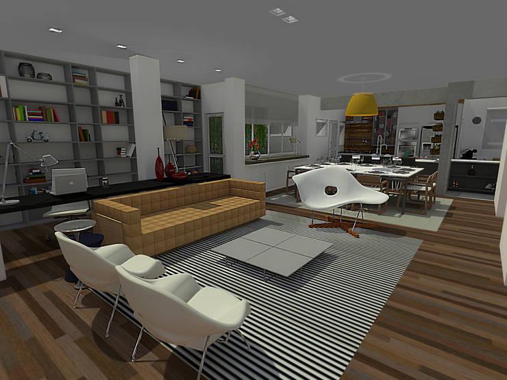Residência Granja Viana – SP: Salas de estar  por PdP Arquitetura