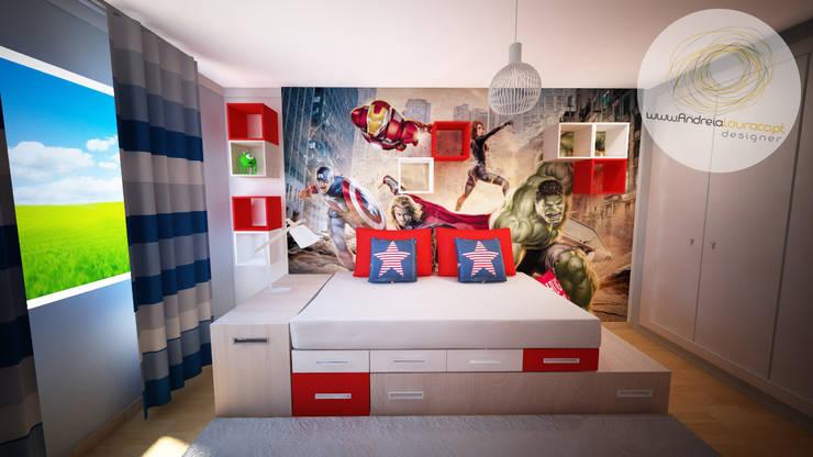 Projecto de Decoração Quarto de menino - by Andreia Louraço Design e Interiores:   por Andreia Louraço - Designer de Interiores (Contacto: atelier.andreialouraco@gmail.com)