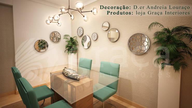 Projecto de Decoração sala by Andreia Louraço Design e Interiores: Salas de jantar  por Andreia Louraço - Designer de Interiores (Contacto: atelier.andreialouraco@gmail.com)