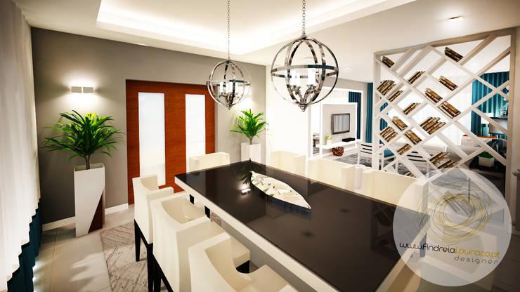 Sala azul: Salas de jantar  por Andreia Louraço - Designer de Interiores (Contacto: atelier.andreialouraco@gmail.com)