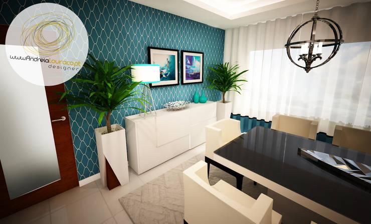 Sala azul: Sala de jantar  por Andreia Louraço - Designer de Interiores (Contacto: atelier.andreialouraco@gmail.com)