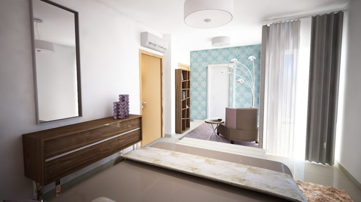 Projecto de Decoração - Suite - by Andreia Louraço Design e Interiores: Quartos  por Andreia Louraço - Designer de Interiores (Contacto: atelier.andreialouraco@gmail.com)