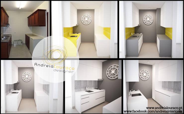 Projecto - Cozinha by Andreia Louraço Design e Interiores: Cozinhas  por Andreia Louraço - Designer de Interiores (Contacto: atelier.andreialouraco@gmail.com)