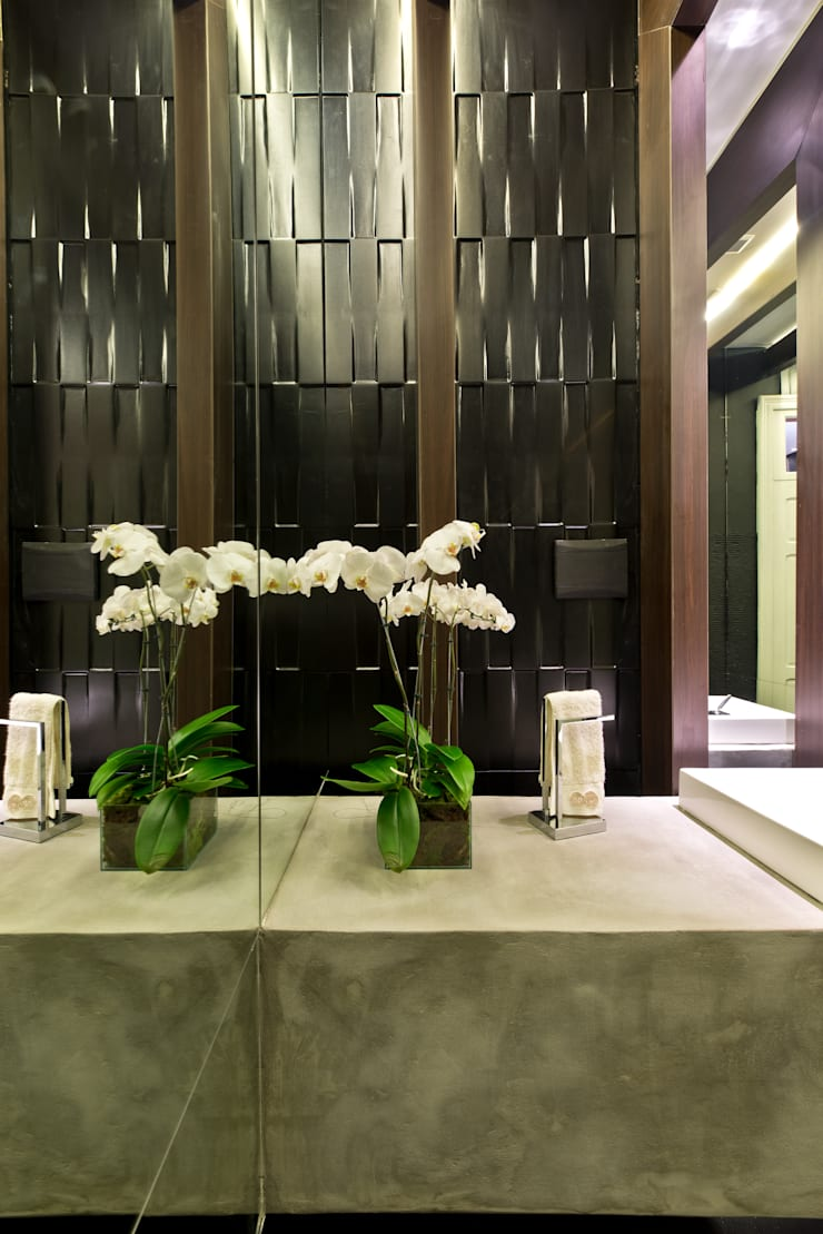 Casa Cor 2012 – Lavabo Social: Edifícios comerciais  por Saad.Ribeiro Arquitetura e Interiores